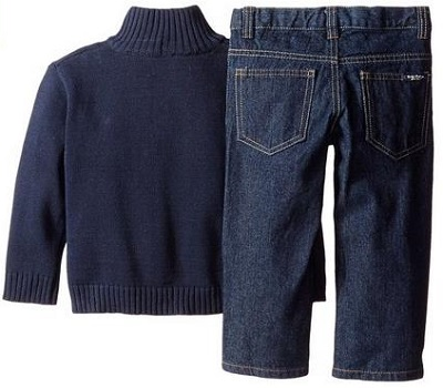 Nautica Little Boys' 3 Piece Set Woven Sweater Denim