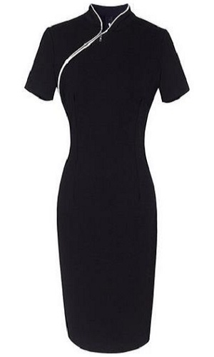 Senfloco Ladies Dress Womens Zipper Black Dress