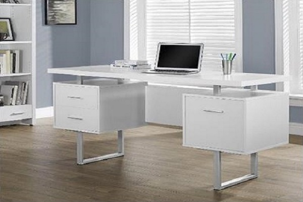 Monarch Specialties White Hollow-Core/Silver Metal Office Desk