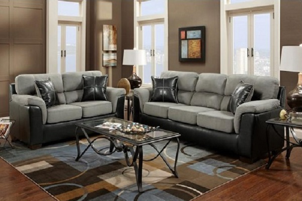 Roundhill Furniture Laredo 2-Toned Sofa And Loveseat Living Room Set