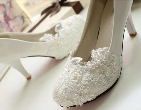 Handmade Lace High-Heeled Wedding Shoes