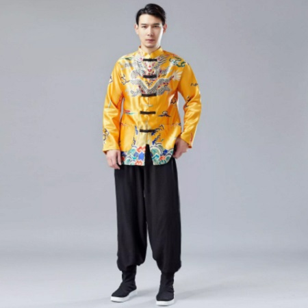 Men Dragon Pattern Print And Chinese New Year Causal Coat