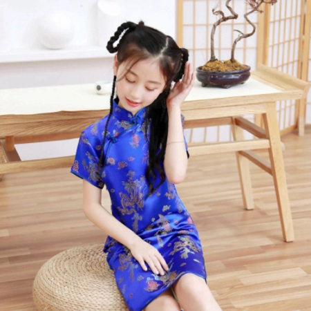 Children Cheongsam New Summer Retro Dragon And Phoenix Princess Dress